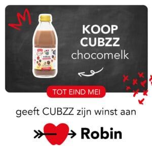 Koop CUBZZ chocomelk en steun Stichting Robin