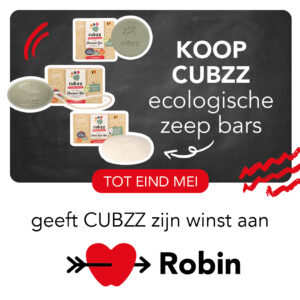 Koop CUBZZ ecologisch shampoo of Koop CUBZZ ecologische zeep en steun Stichting Robin
